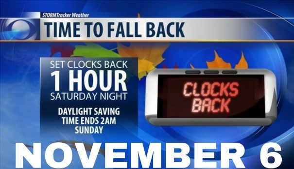Clocks go back on Sunday
