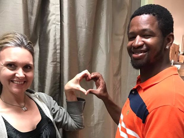 Ginger Sprouse and Victor Hubbard pose for a photo on Valentine's Day. THIS IS VICTOR/FACEBOOK