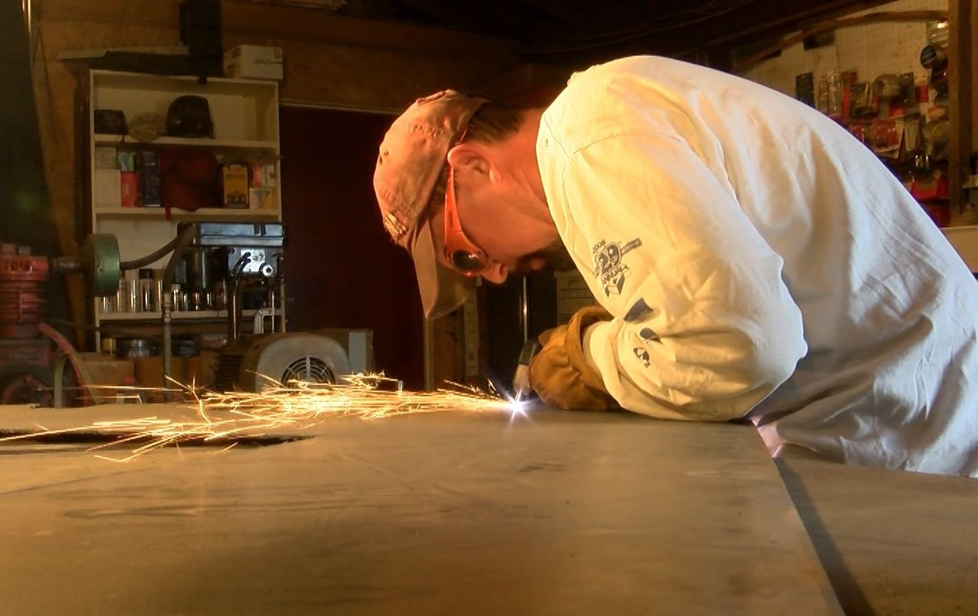 Mike Stahler says his creations are unique; he doesn't use a laser cutter so he says his designs are never the same. (MTN News photo)