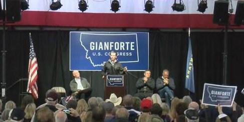 Donald Trump, Jr. at rally for Greg Gianforte (MTN News photo)