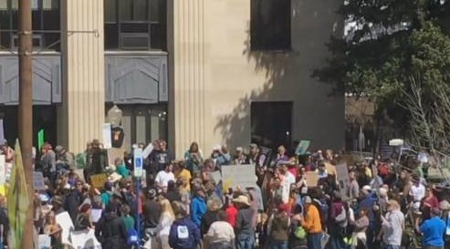 Large crowd shows up in Bozeman (MTN News photo)