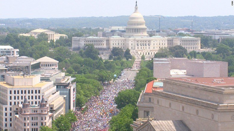 The nation's Capitol is the backdrop for Saturday's People's Climate March in Washington. (CNN photo)