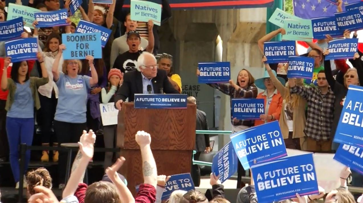 Sen Bernie Sanders appearing at a Missoula campaign rally. (Dennis Bragg photo)