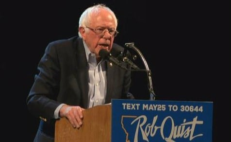 Bernie Sanders hits the campaign trail with Rob Quist in Butte (MTN News photo)