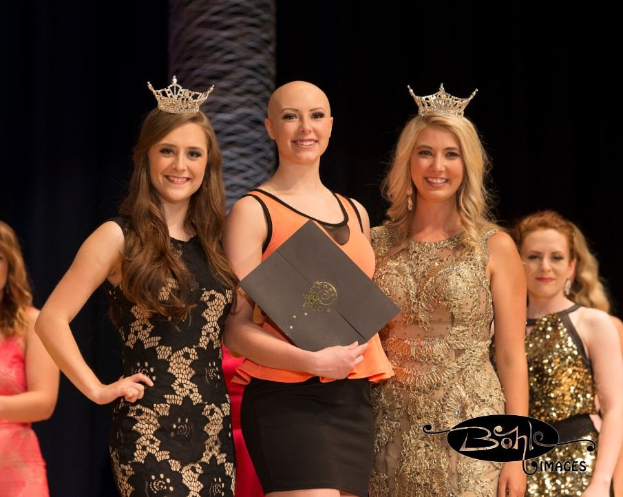 Alyssa Kessel received the Thursday preliminary award for Fitness in Swimwear. She is flanked by Faith Johnson of Helena, Miss Montana's Outstanding Teen and Lauren Scofield, Miss Montana 2016.