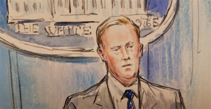 Sketch artist recreates Sean Spicer briefing after White House camera ban