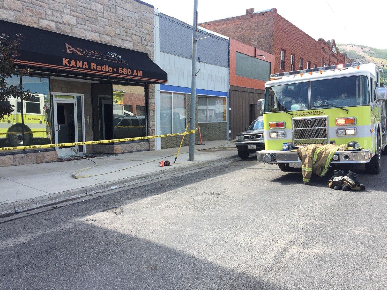 The fire was reported in Anaconda at 105 Main Street at KANA Radio. (MTN News photo)