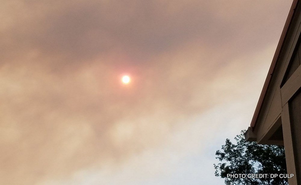 Smoky skies over Great Falls on Monday morning.