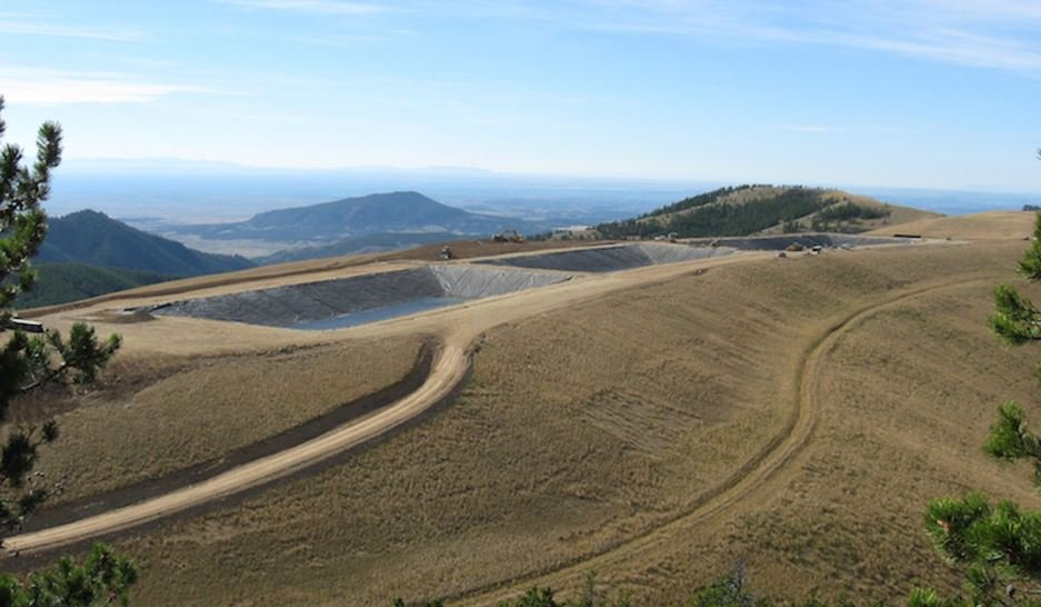 These are three of the water-storage ponds on the site of the Zortman-Landusky Mines. (Lange Containment Systems Inc.)