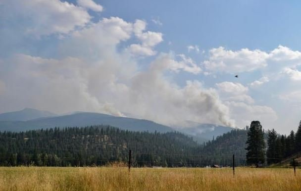 The Lolo Peak fire as seen from U.S. Highway 12 west of Lolo. (photo credit: Andy Lyon)
