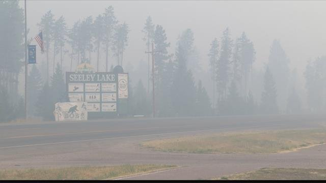Smoke from the Rice Ridge and Liberty fires continue to poor into the town of Seelley Lake. (MTN News photo)