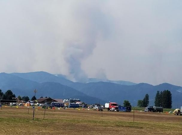 Smoke column rising from upper Verde Creek area (photo credit: Kim Smolt)