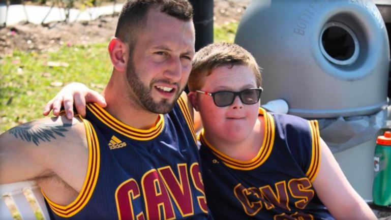 Sammy Callari and his client, 13-year-old Parker Seward, pose with matching LeBron James jerseys -- their favorite player. (INSTAGRAM/@SAMMYCALLARI)