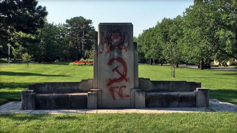 Daughters of Confederacy statue defaced with hammer and sickle