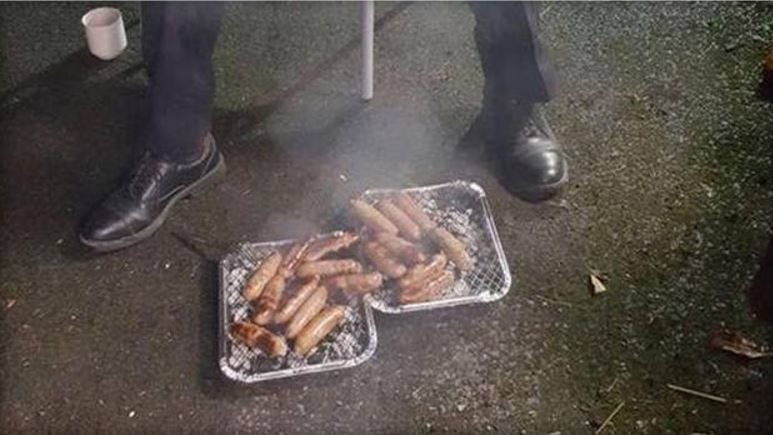 Piglets in England were saved from a fire only to be served as sausages to the firefighters who rescued them. PEWSEY FIRE STATION / FACEBOOK / BBC NEWS