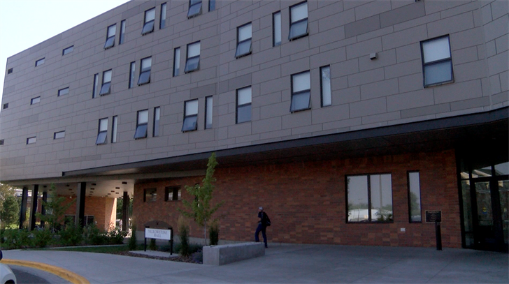 The building would be larger than the newly-added Yellowstone Hall (pictured), a first-year dorm built last year that houses around 440 students.
