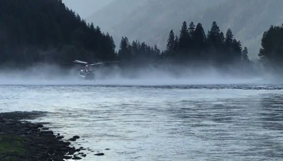 Chinook filling with water on the Kootenai River. (inciweb.org photo)