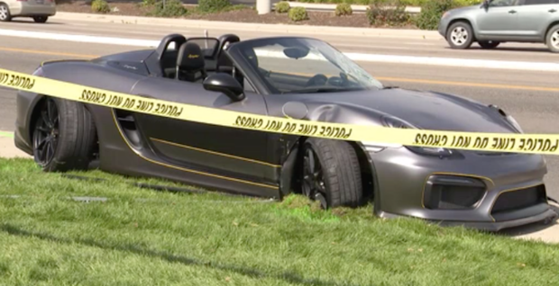 This KBOI-TV image shows a gray Porsche after is struck several pedestrians in Boise, Idaho, on Saturday, Sept. 16, 2017 / KBOI-TV