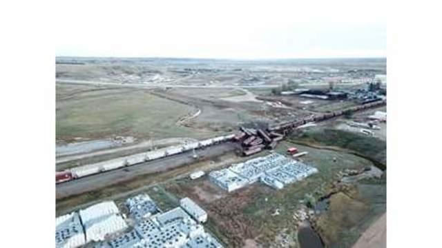 An overhead shot of a train derailment near Williston, N.D. courtesy of KX News.