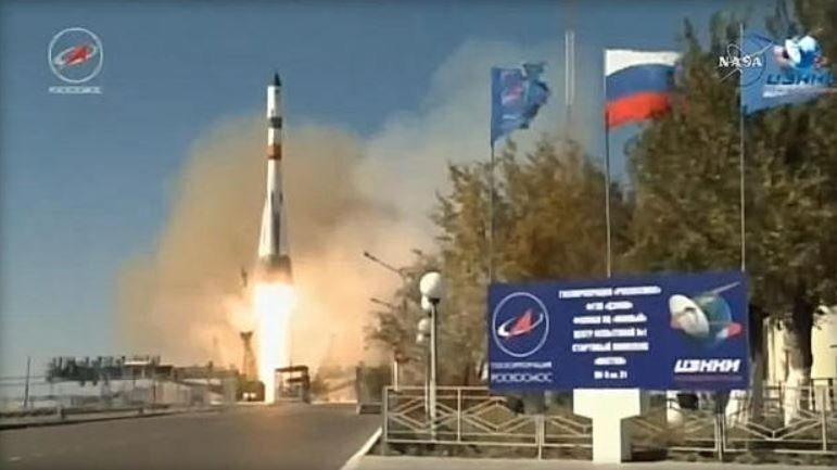 A Russian Progress supply ship loaded with 2.9 tons of equipment and supplies blasted off from Kazakhstan Saturday, on course for docking with the International Space Station early Monday. (NASA/ROSCOSMOS)