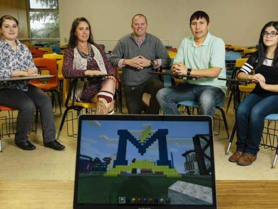 Along with other researchers, Montana State University students, from left, Amanda Kotila, Elaine Westbrook, MSU associate education professor Nicholas Lux, Cotton Real Bird and Clarissa De Leon are working to develop a curriculum based on Minecraft.