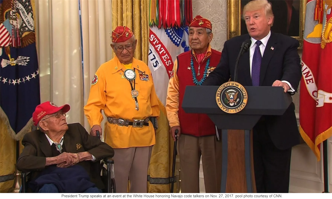 Trump makes 'Pocahontas' slur at Native American ceremony
