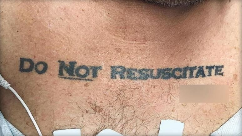 Photograph of the patient's tattoo entered into the medical record to document his perceived end-of-life wishes. NEW ENGLAND JOURNAL OF MEDICINE
