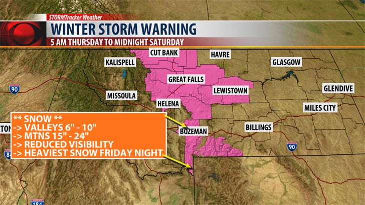 Winter storm warning in effect for Montana