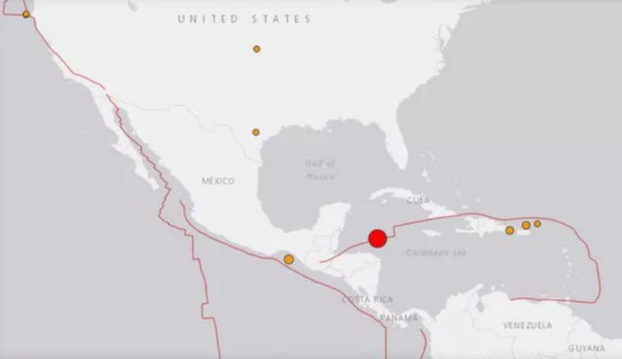 Map showing an earthquake near Honduras on Tue., Jan. 9, 2017. / USGS