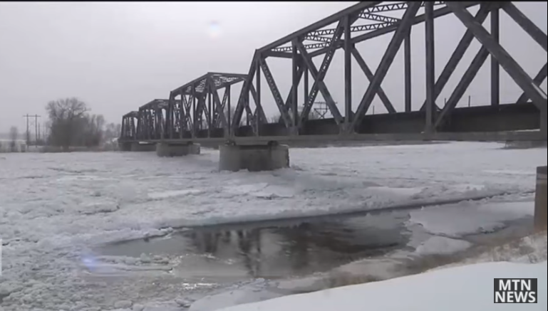 An ice jam formed on the Missouri River earlier this month. MTN News