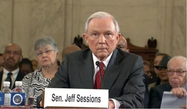 Attorney General Jeff Sessions during his confirmation hearing. CBS NEWS
