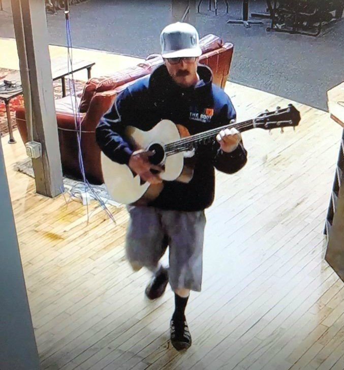 Suspect in attempted guitar theft caught on security camera / Courtesy Music Villa Facebook page