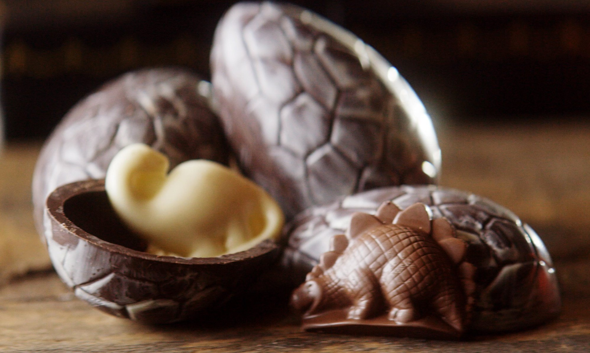 Chocolate dinosaur eggs crafted by La Chatelaine Chocolat Co. in Bozeman.