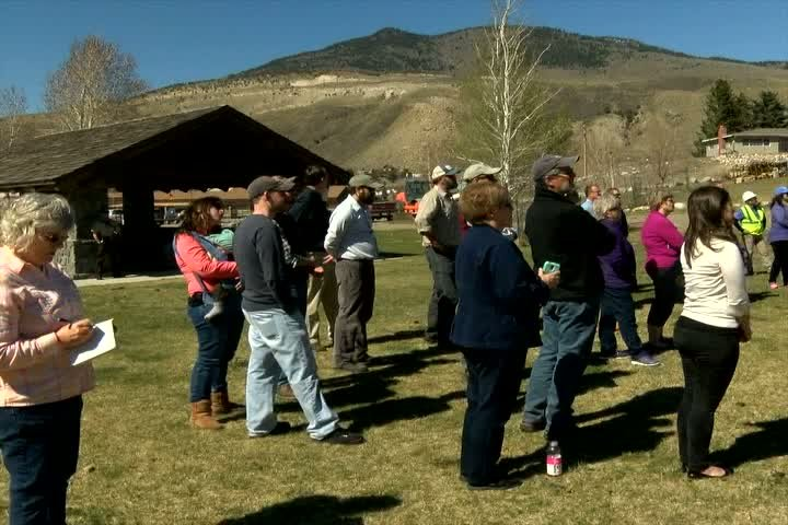 Members of the Park Service, community and elected officials gathered to kick off the summer season at Yellowstone and phase one of the Gardiner Gateway Project. (MTN news photo)